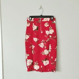 Dynamite Red Floral Stretchy Pencil Skirt Zipper